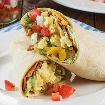 Breakfast Burrito with Bacon & Egg Guacamole