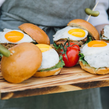 Super Juicy Turkey Sliders with Fried Eggs and Orange Sumac Yogurt Dip