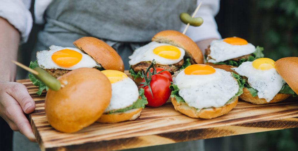Super Juicy Turkey Sliders with Fried Eggs and Orange Sumac Yogurt Dip