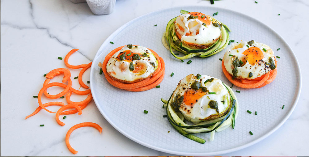 Pesto Veggie Egg Nests