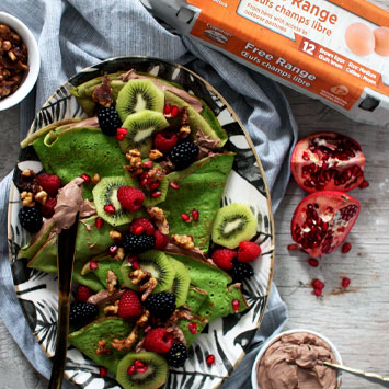 Sneaky Hulk Crepes with Chocolate Whipped Mascarpone & Candied Walnuts