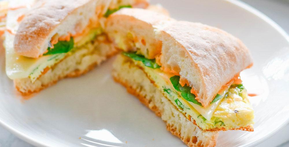 Sheet Pan Egg Ciabatta Sandwiches
