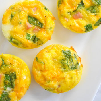 Ham, Cheese & Spinach Egg Cups