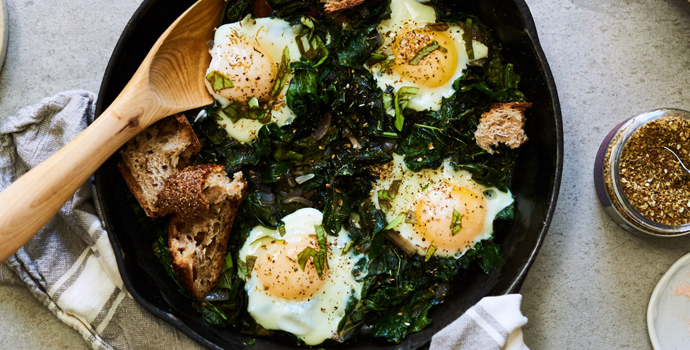 Green Shakshuka with Conestoga Eggs