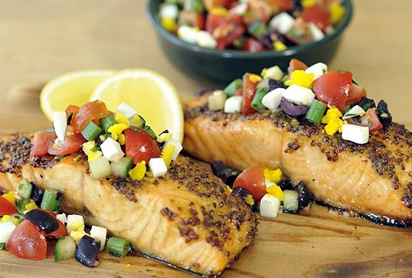 Cedar Plank Salmon with Niçoise Relish