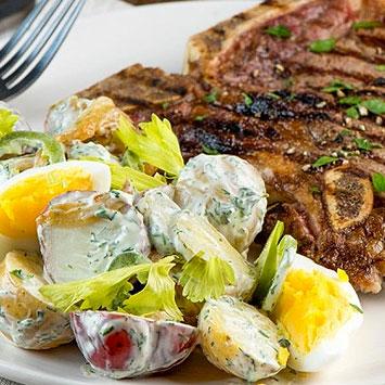 T-Bone Steak and Summer Potato Salad