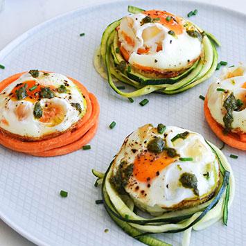 Pesto Veggie Egg Nests