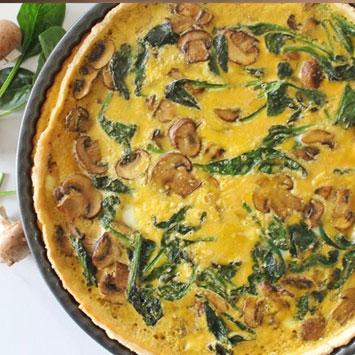 Grain Free Spinach and Mushroom Quiche