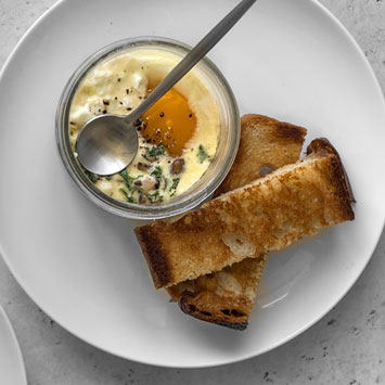 Coddled Eggs with Mushroom and Kale